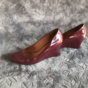 Coach woman's wedges maroon shoes size 7.5